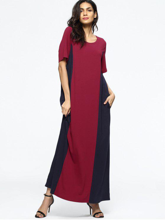 0871f0e9fe57 35% OFF  2019 Casual Loose Two Tone Maxi Dress In WINE RED 2XL