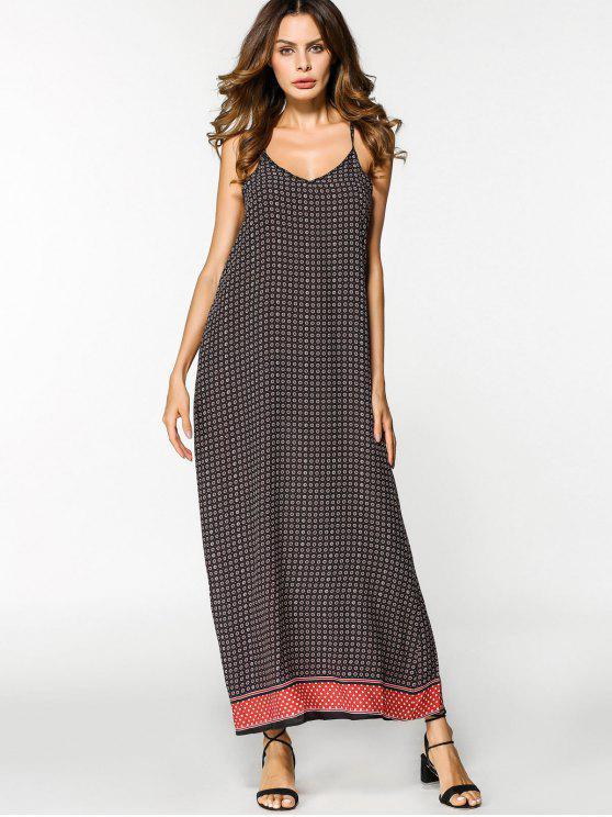 زلة القبلية سوينغ فستان ماكسي - أحمر L