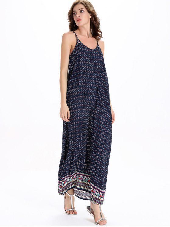 زلة القبلية سوينغ فستان ماكسي - أزرق XL