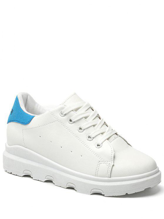 shops Faux Leather Breathable Color Block Flat Shoes - BLUE 40