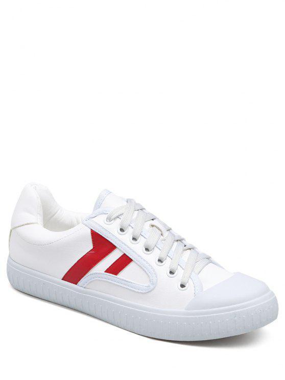 Faux Leather Color Block Flat Shoes - Vermelho 37