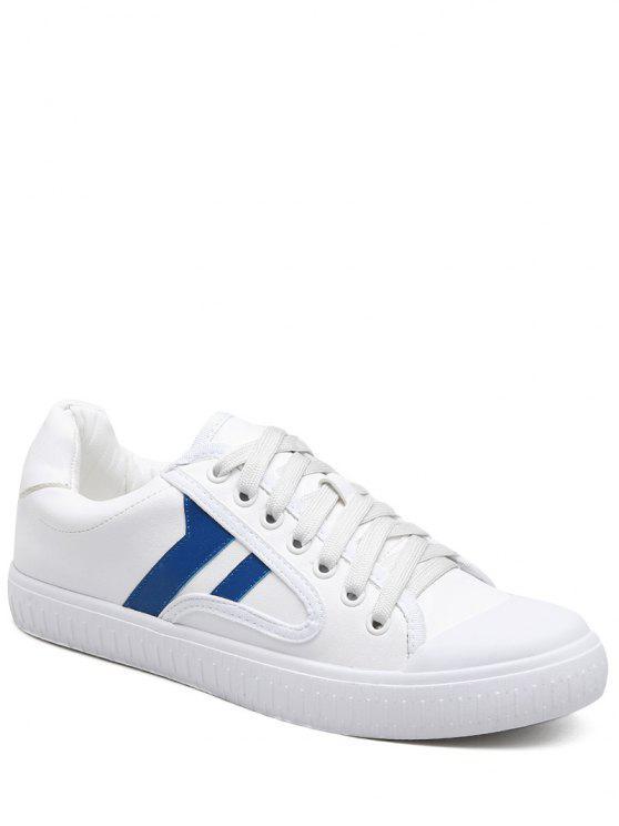 womens Faux Leather Colour Block Flat Shoes - BLUE 37