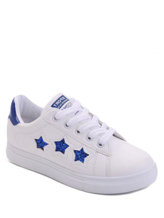 Star Pattern Lace Up Sequins Flat Shoes - Azul 39