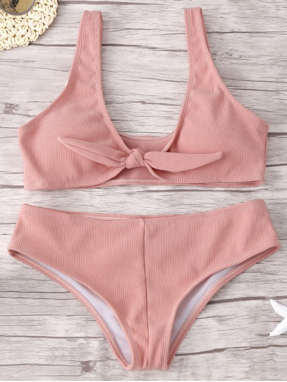 online Front Knot Ribbed Bikini Set - PINK S