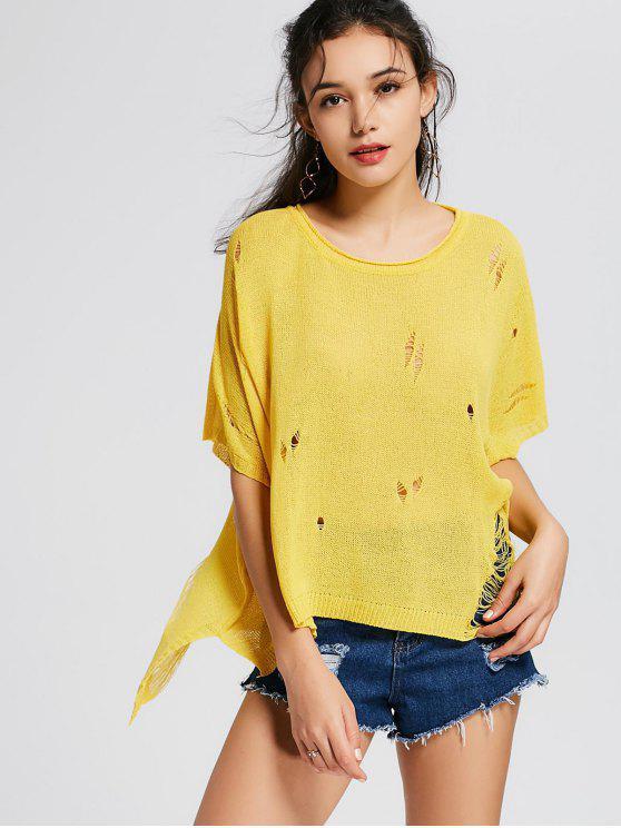 Übergröße Zerrissener Pullover mit seitlichem Schlitz - Gelb Eine Größe