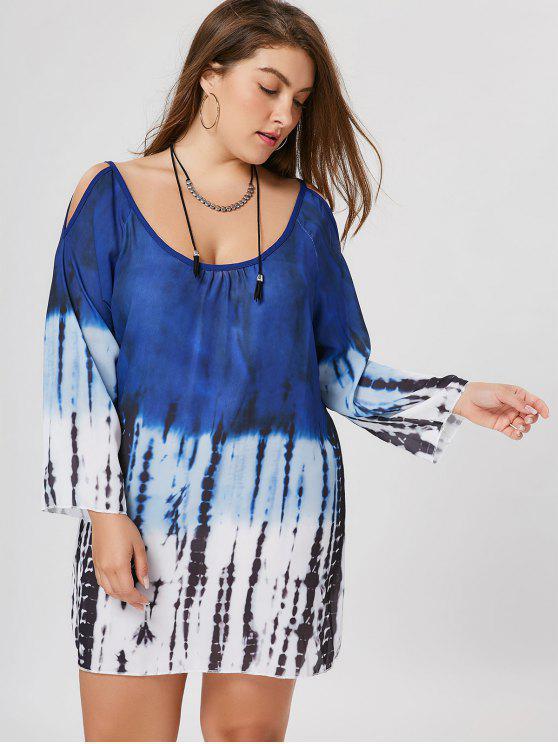Robe à tunique à épaule fantaisie - Multicolore 4XL