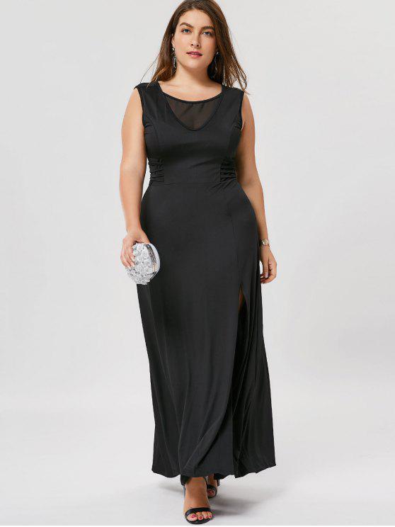 Slit Mesh Panel Plus Size Maxi Dress - Noir 2XL