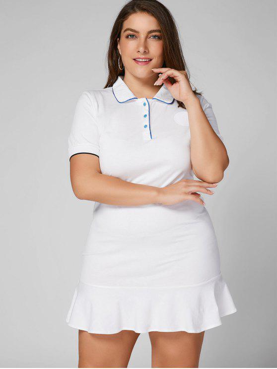 فستان الحجم الكبير كشكش بولو - أبيض 4XL