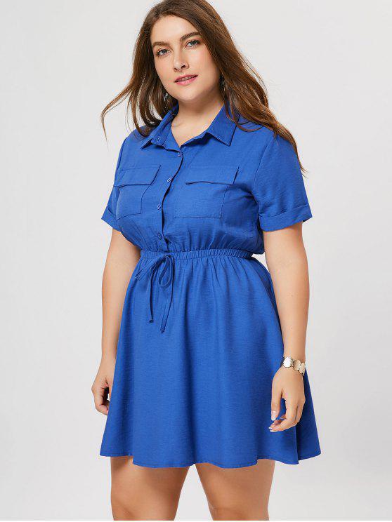 Robe à manches courtes taille grande - Bleu 5XL
