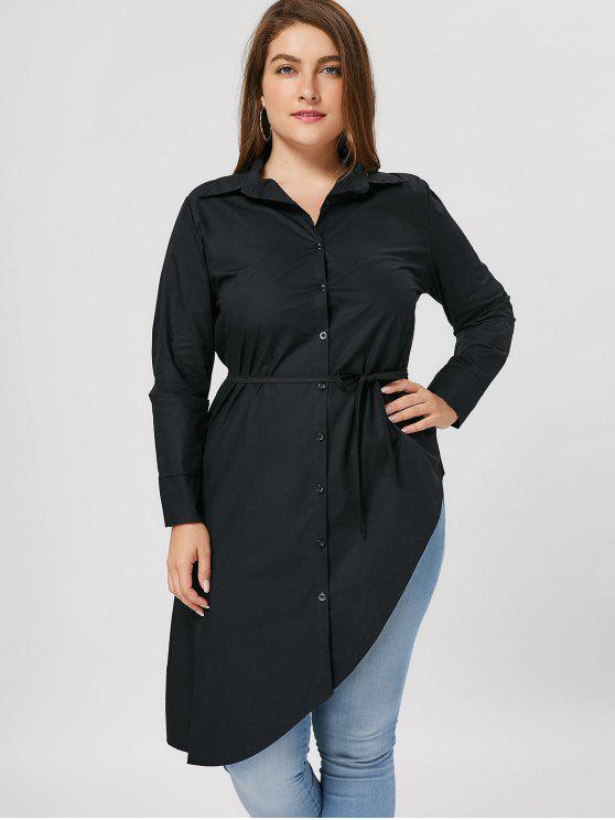 latest Plus Size Button Up Asymmetrical Shirt - BLACK 3XL