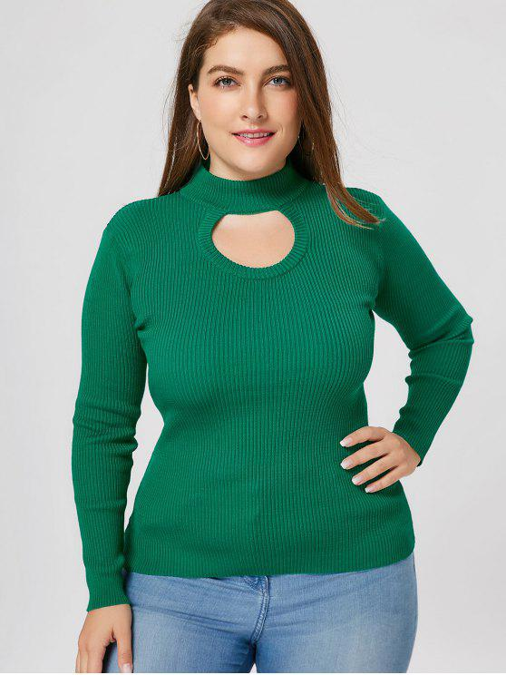 unique Plus Size Ribbed Cutout Mock Neck Sweater - GREEN 4XL