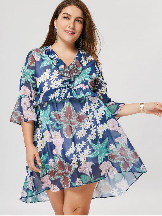 Ruffle Floral Plus Size Robe - Multicolore XL