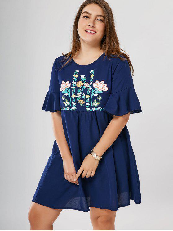 Robe de survêtement Floral Plus Size - Bleu 3XL