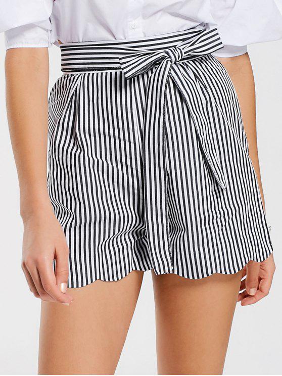 lady Belted Scalloped Stripes Shorts - STRIPE L