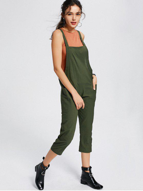 buy Square Collar Capri Jumpsuit with Pockets - ARMY GREEN M