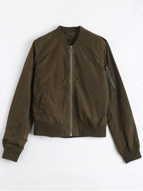 womens Invisible Pockets Zippered Bomber Jacket - ARMY GREEN M