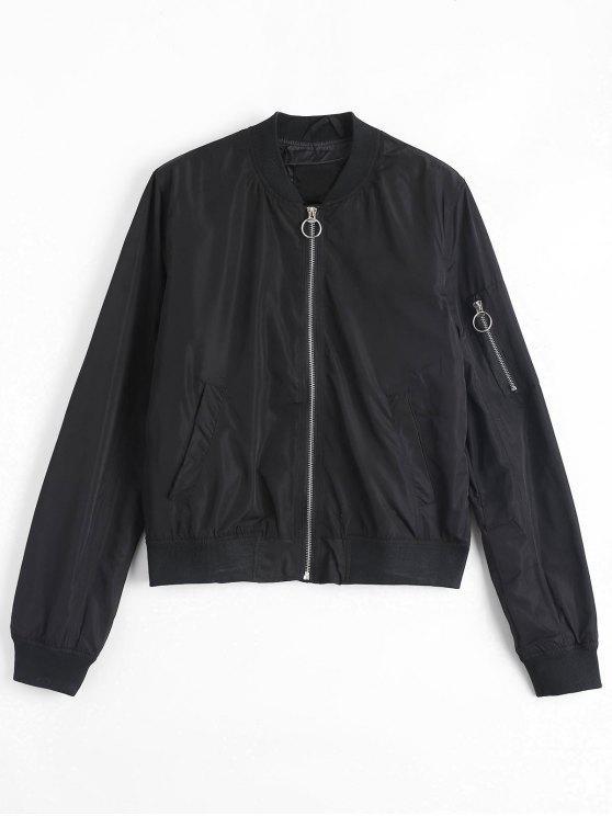 ladies Invisible Pockets Zippered Bomber Jacket - BLACK M