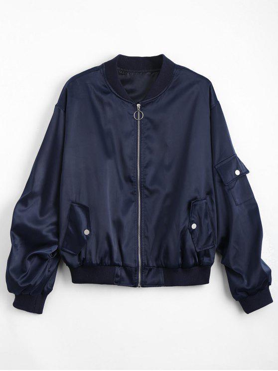 best Zip Up Pockets Drop Shoulder Jacket - PURPLISH BLUE ONE SIZE