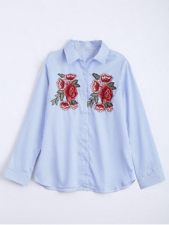 Floral bestickte Aufnäher Stripes Shirt - Helles Blau S