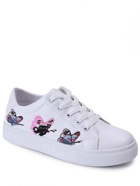 fashion Embroidery Tie Up Butterfly Pattern Flat Shoes - WHITE 38