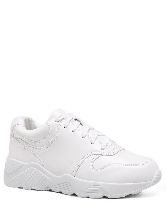 Zapatillas de deporte de cuero falsas del funcionamiento - Blanco 38