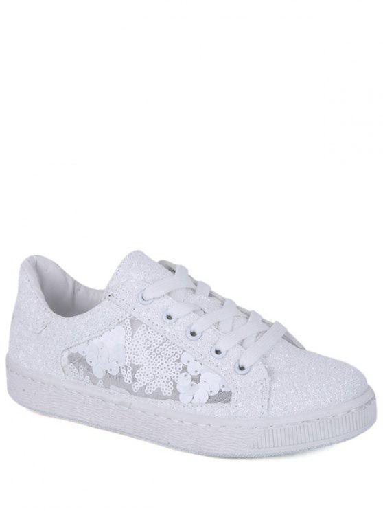 El brillo ata para arriba los zapatos planos de los cequis - Blanco 39