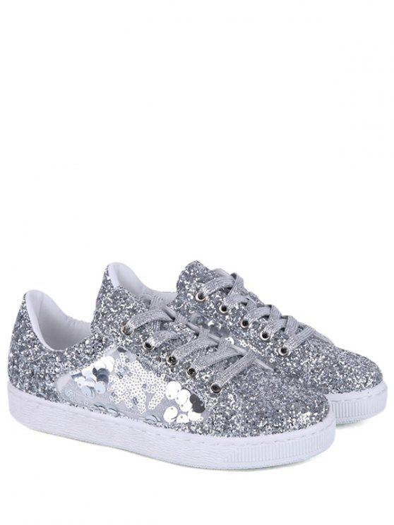 Glitter Tie Up Sequins Flat Shoes - Argent 39