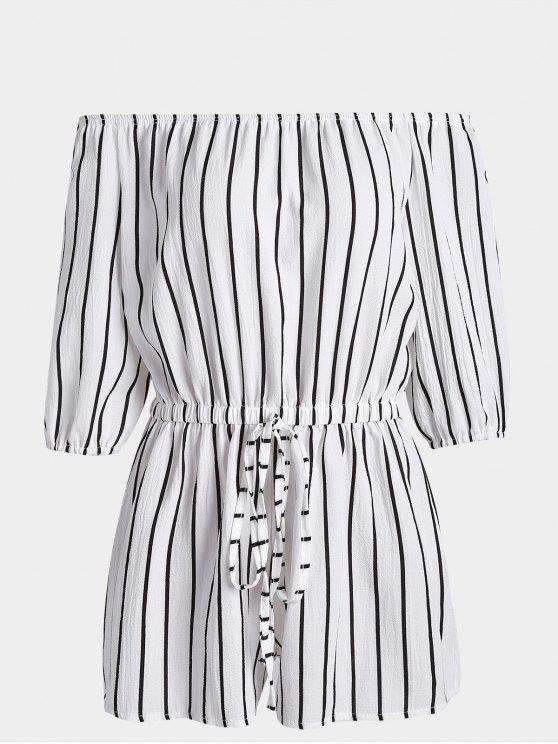 Off The Shoulder Self Tie Romantique à rayures - Blanc XL