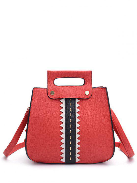 محكم جلد اللون كتلة المسامير حقيبة يد - أحمر