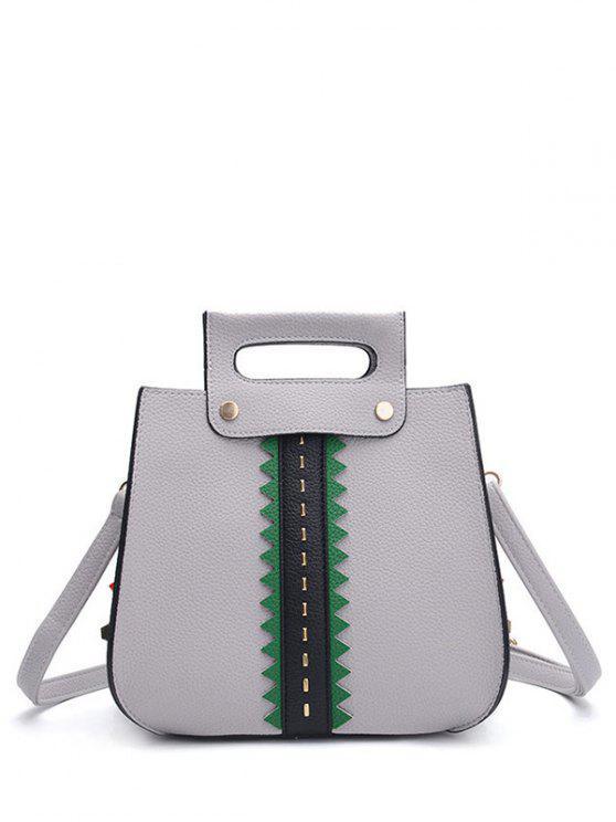Handtasche aus Textur Leder mit Farbblock und Nieten - Grau