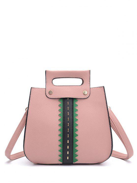 women Textured Leather Colour Block Rivets Handbag - PINK