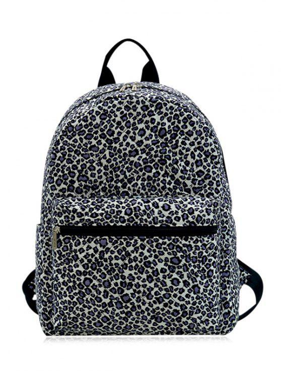 Zippers Doble mochila acolchada bolsillo - Negra Estampado de Leopardo