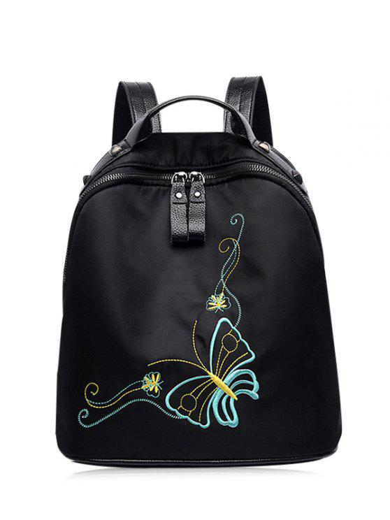 Embroidery Nylon Rivets Backpack - Preto