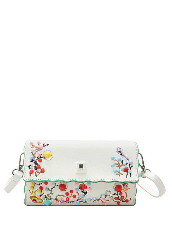 Faux cuir broderie couleur riffs Crossbody Bag - Blanc Cassé