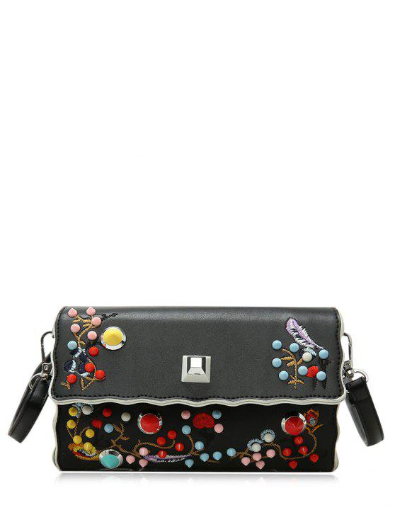 trendy Faux Leather Embroidery Color Rivets Crossbody Bag - BLACK