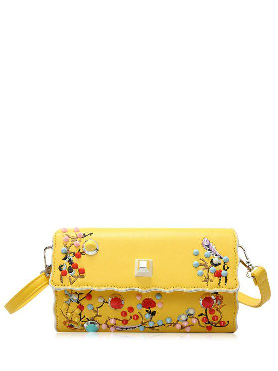 fashion Faux Leather Embroidery Color Rivets Crossbody Bag - YELLOW