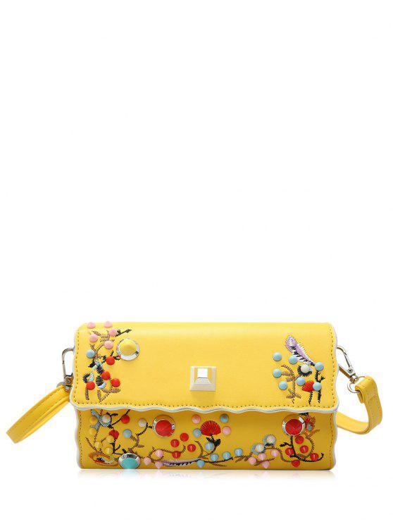 Faux cuero bordado color remaches Crossbody bolsa - Amarillo