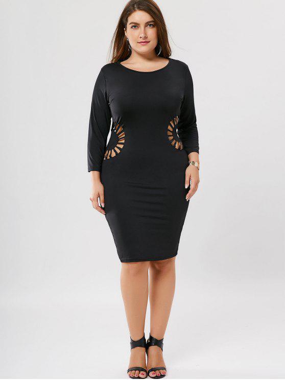 فستان الحجم الكبير قطع ضيق - أسود 2XL