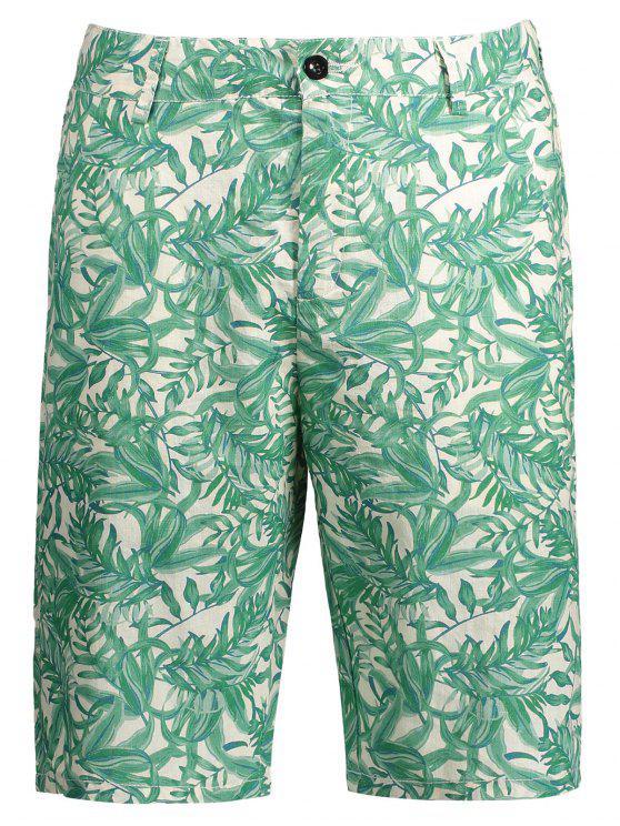 Feuilles Imprimer Zipper Fly Casual Shorts - Multicolore XL