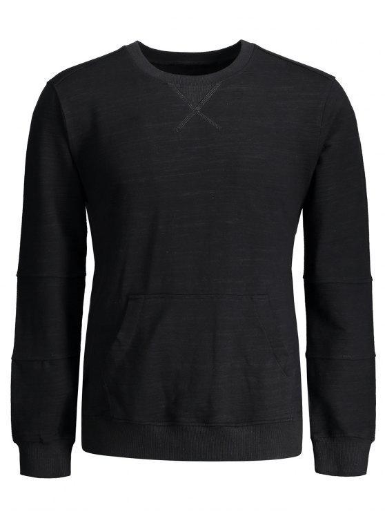 Crisscross Front Pocket Crewneck Sweatshirt - Noir M