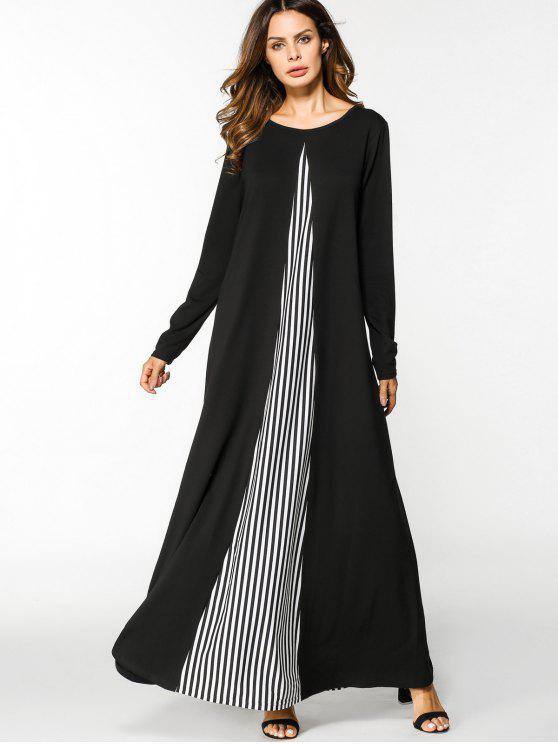 فستان طويلة الأكمام مخطط لوحة ماكسي - أبيض وأسود L