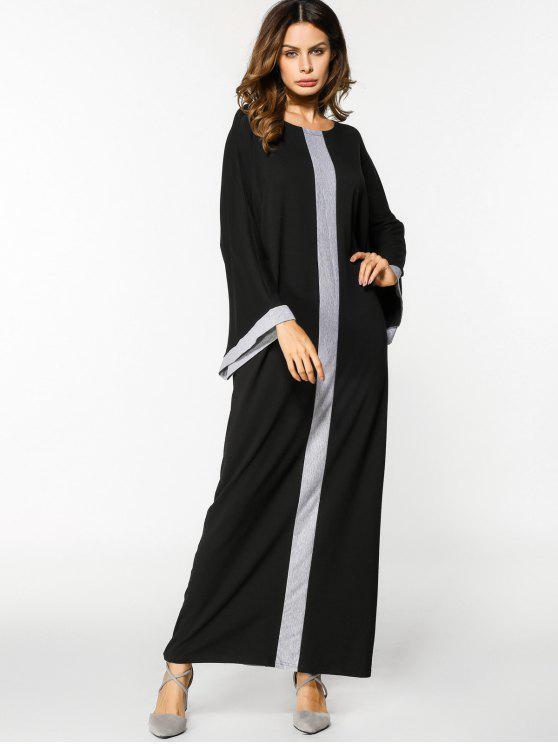 فستان باتوينغ الأكمام فضفاض ماكسي - أسود ورمادي حجم واحد