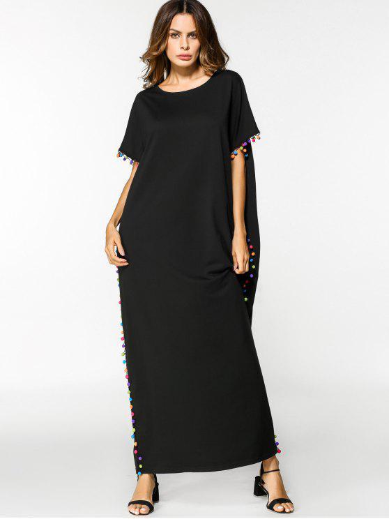 فستان فضفاض دانتيل التريم مريح ماكسي - أسود 2XL