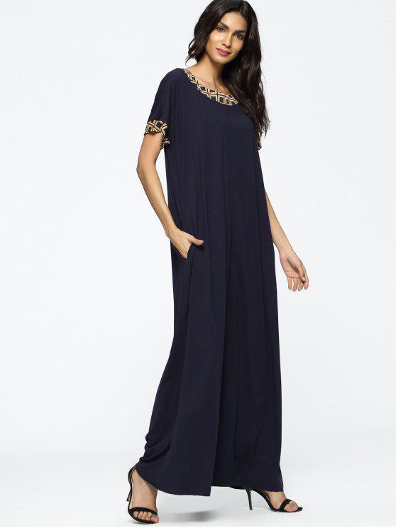 فستان فضفاض طباعة هندسية ماكسي - الأرجواني الأزرق 2XL