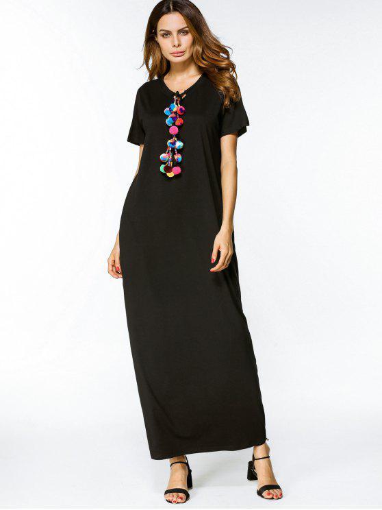 فستان ماكسي فضفاض الشريط - أسود 2XL