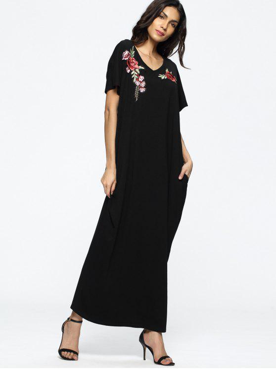 فستان فضفاض مطرز بالأزهار ماكسي - أسود XL