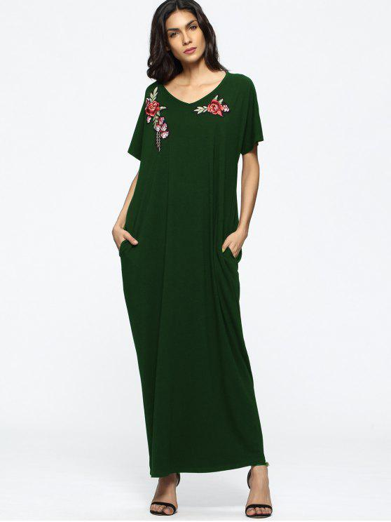 64aa2136235e3 Loose Floral Embroidered Patches Maxi Dress