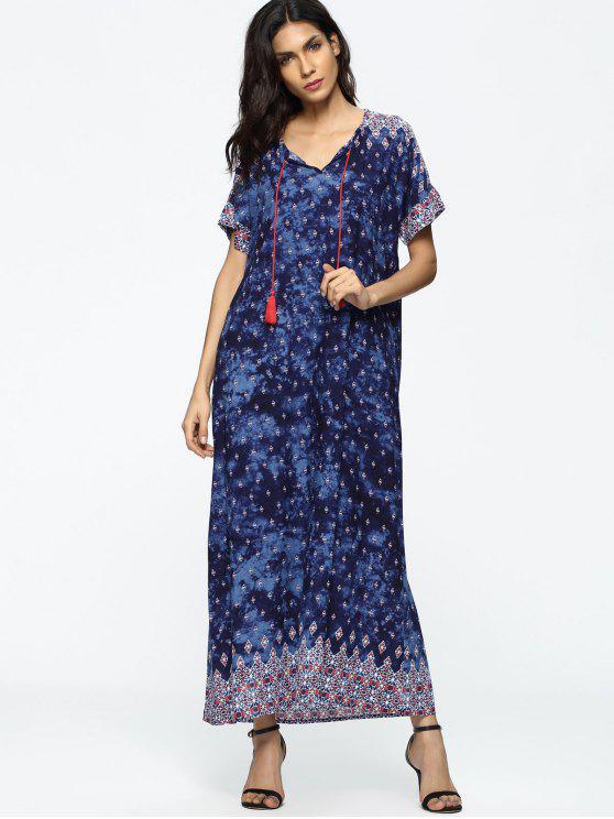 فضفاض الشرابة القبلية فستان ماكسي - Colormix XL