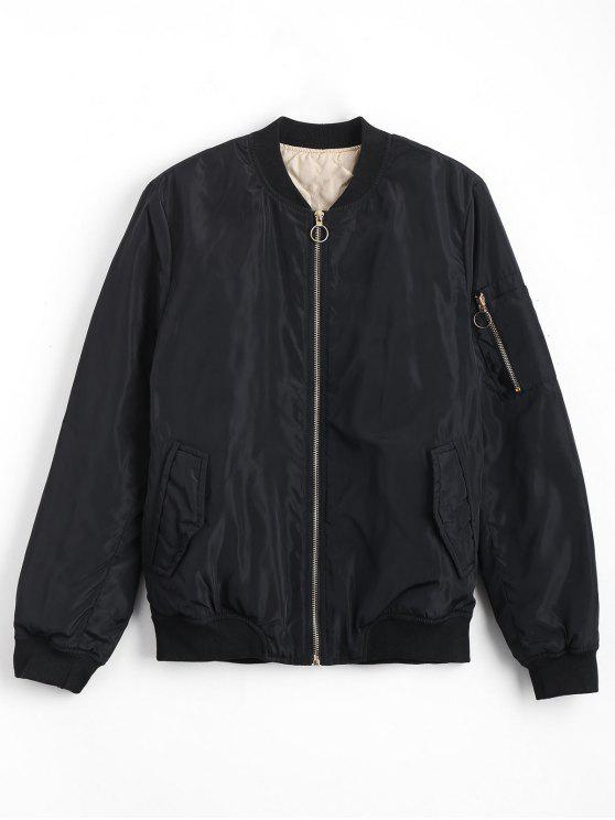latest Zip Up Invisible Pockets Bomber Jacket - BLACK L