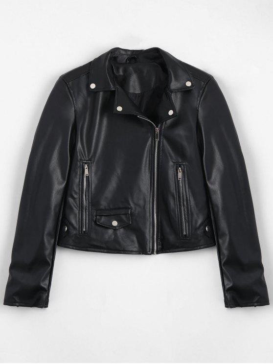 trendy Zip Up Pockets Faux Leather Jacket - BLACK S